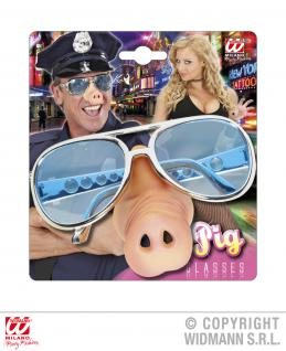 Brille mit SCHWEINSNASE, Karneval, Polizei, Scherz, Gag, Mottoparty 1197
