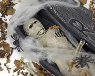 Mumie, Sarg + Deko 68, 5 x 22 Totenkopf Leiche Halloween Horror