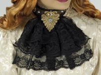 Steampunk Jabot schwarz, Halsband Halskrause Applikationen Spitze Damen