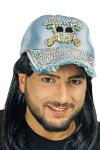 10 x Baseball Kappe Cap Herren Robert Jeans-Strass Totenkopf Mütze blau