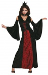 5 tlg. Vampir Frau Vampira, Kostüm schwarz-rot, Gr. 38 8753