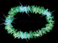 2x Hawaiikette Blumenkette, Hawaii grün + Licht, LED 25