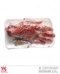 Blutige abgehackte Menschen Hand + Fleischhaken, Horror, Halloween Deko