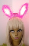 LED Leucht Haarreifen rosa pink Ohren Bunny Damen Kinder Karneval