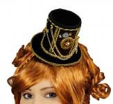 Steampunk Mini Hut Zylinder braun schwarz, gold, Kostüm Zahnrad Damen