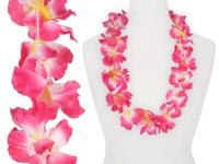 Hawaiikette Hawaikette Blumenkette Textilblüte Regenbogen pink weiss 1 m