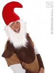 ZWERGEN Mütze, Gnome, Rot mit BART & Augenbrauen 3061