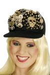 10 x Baseball Kappe Cap Damen schwarz, goldene Knöpfe Totenkopf Gothic