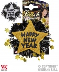 SILVESTER, Party Brosche, Anstecknadel HAPPY NEW YEAR Stern gold, silber