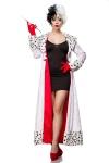 Dalmatiner Kostüm Cruella Kleid, Mantel. Handschuhe ---M mit Perücke