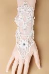 Handschmuck, fingerloser Hanschuh Damen Spitzen u Perlen Retro Burlesque