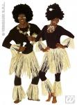 Afrika, 5-tlg.Zulu Set, Bastrock Arm- u. Beinkleid Kostüm, Karneval 3374
