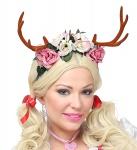 Rentier Geweih -Reh mit Blumen Haarreif, Weihnachten, Damen