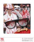 Blutverschmierte schwarze Brille, mit Blut befleckt, Horror Halloween 0341