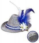 Mini Fedora Hut Edelweiß grau blau Oktoberfest, Feder Haarclip Damen
