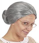 Oma Perücke, grau, Großmutter m. Dutt, Karneval, Motto Damen