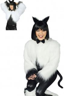 Plüschbolero Fell Weste Katze weiß schwarz Damen Karneval Mottoparty