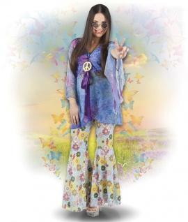 3tlg. Hippie Kostüm + Kette 70er Jahre Damen, Karneval Mottoparty 36-38, 40-42