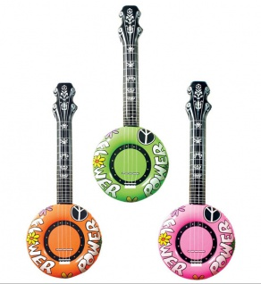 Aufblasbare GITARRE BANJO Luftgitarre, pink grün orange 2395