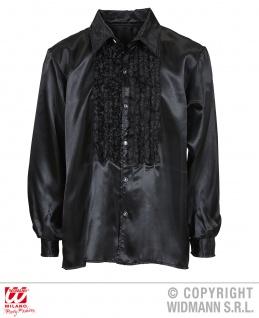 70er -80er Jahre Rüschen Satin Hemd schwarz