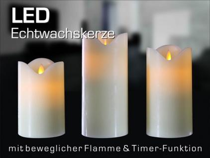 bewegliche Flamme Flammenlos 8 cm Ø wie echt LED Kerze creme weiß TIMER