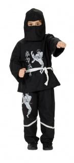 3tlg. Ninja Samurai Kostüm Kinder schwarz-weiß 128, 140, 152, 164