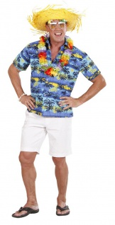 Hawaii Hemd, Kurzarm, blau Palmen