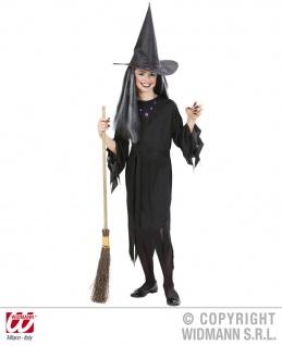 3 tlg Hexen Kostüm Kleid Gürtel + Hut Hexenkleid schwarz Mädchen