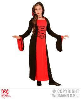 Vampir Kostüm Kinder Mädchen, Hexe, schwarz rot 128, 140, 158 Halloween