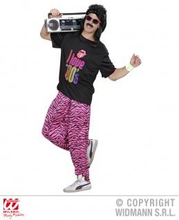 80er 90er Jahre Jogginghose TRAININGSHOSE + T-SHIRT pink-schwarz M/L, L/XL 9885