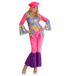 70er Hippie Kostüm + Mütze, Woodstock, Damen 38 M, 40 L Karneval