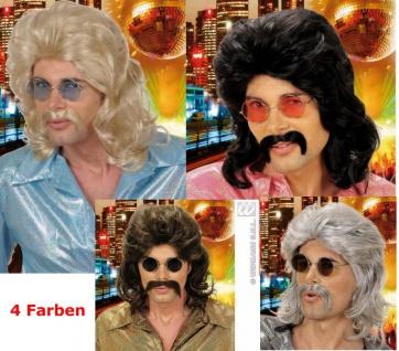 70er Jahre Perücke mit Schnauzer, schwarz, braun, blond, grau, Motto 0806