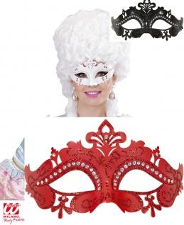 Venezianische Maske Barock, Club, weiß, schwarz, rot mit Schmucksteinen 1164
