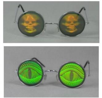 Holografie Brille, rund Totenkopf, Reptilaugen Mottoparty Halloween