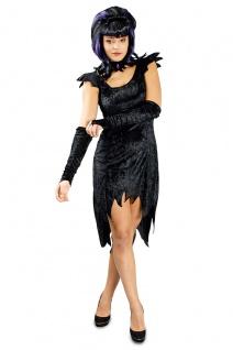 3tlg Hexen Teufel Kleid Kostüm Fransen schwarz Ärmellos Damen 36-38, 40-42, 44-46