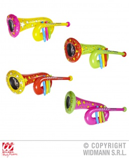 TUBA aufblasbar ca. 63 cm, Clown, Trompete, gelb, grün, rot, pink