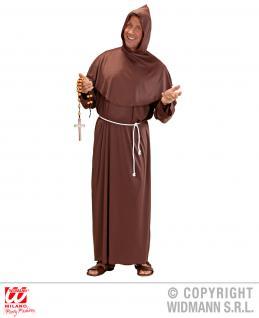 Mönch Kostüm Priester Kapuzengewand Gürtel braun S, M, L, XL Herren