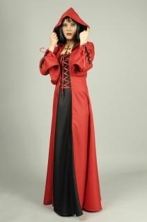 Vampir Hexen Teufel Gothic Kostüm m. Kapuze Damen, schwarz-rot, S, M, L
