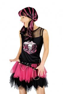 3 tlg.Kostüm Punk Gothic + Armstulpen, schwarz pink Damen Karneval Mottoparty