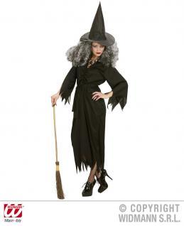 Hexen Kostüm, Gürtel+ Hut, Hexenkleid Damen schwarz - Vorschau 1