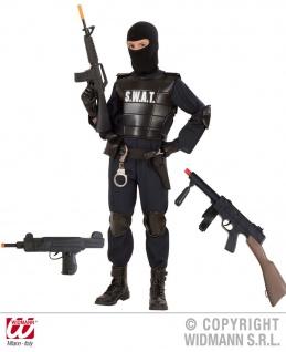 7 tlg.S.W.A.T Polizei Kostüm Kinder, Gewehr, Pistole, Uzi, Handschellen