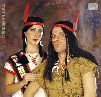 Indianerin, Indianer Perücke lang, mit Feder,