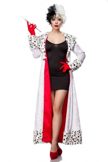 Dalmatiner Kostüm Cruella Kleid, Mantel. Handschuhe