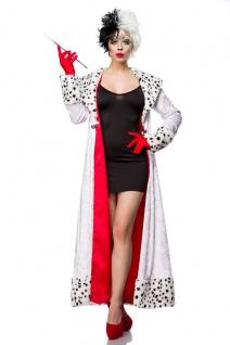 Dalmatiner Kostüm Cruella Kleid m Mantel, Handschuhe Damen schwarz weiß