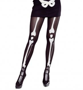 Knochen Skelett Strumpfhose schwarz weiß 40 DEN Damen Halloween Motto