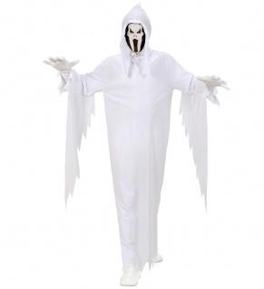 GEIST Kostüm, Kinder weiß mit Maskenkapuze + Gürtel 128 140 152