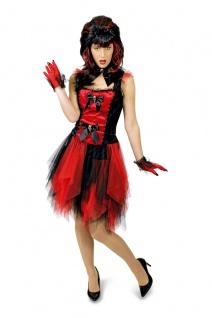 Vampir Hexen Teufel Kostüm + Halsband schwarz rot Damen Tüll