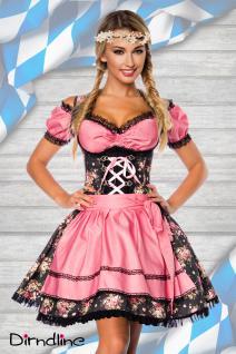 3 tlg. Sexy Dirndl, Bluse, Schürze rosa-schwarz