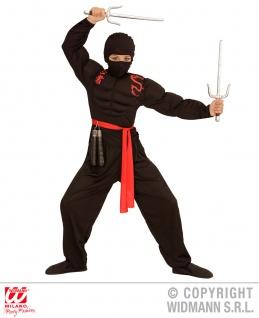 4 tlg. Ninja Kostüm rot schwarz