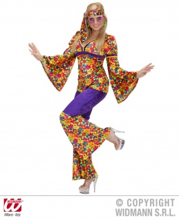 70er Woodstock Hippie Kostüm 3tlg. Frau